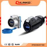 USB3.0 Cnlinko Lp24 do conector do cabo de transmissão rápida de Interface Material PBT/IP65 Conector IP67