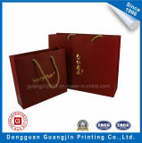High Quality Red Printed Paper Bag Panier avec Golden Logo