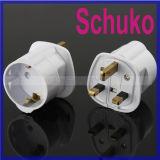Сплавленное Schuko/Германия/Франция/Южный Корея к UK штепсельной вилке Adapter
