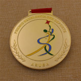 昇華締縄が付いているカスタム最上質の金の体操メダル