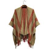 Женщина моды полосатый акриловый трикотажные зимой челкой тканого шаль (YKY4494)