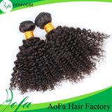 Het natuurlijke Zwarte Kroezige Krullende Maagdelijke Menselijke Peruviaanse Haar van Toebehoren