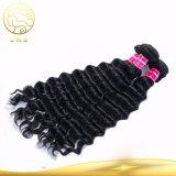 Pelo humano indio de la onda del pelo humano de la Virgen al por mayor sin procesar profunda de la extensión el 100%