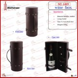 Boîte simple à vin de bouteille de cylindre portatif en gros fabriqué à la main (6469R1)