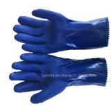 Хлопок волокнистую синий латексные перчатки с сертификат CE домашних хозяйств