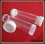 Tuyauterie claire de tube de verre de quartz de silice avec l'extrémité de filet de vis