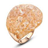Ring van het Kristal van de Kleur van de manier de Gele Goud Geplateerde voor Vrouwen