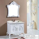 ミラーのキャビネットとの白い塗られた高品質の浴室の虚栄心