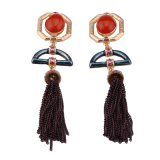Fashion Rhinestone Metal Long Tassels Colorful Earring Women Jewelry