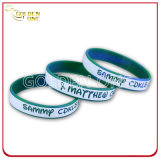 La fabbrica fornisce il braccialetto stampato in bianco del silicone di colore di 1/4 di pollice