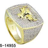 Nieuwste Punt 925 de Zilveren Hoge Ringen van de Mensen van het Eind met Glanzend CZ. (S-14957)