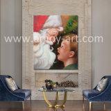 クリスマスの装飾のためのハンドメイドのサンタクロースの油絵