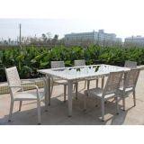 Al aire libre blanca Rattan Juego de comedor muebles de mimbre (DS-06046)