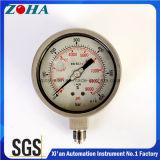 manómetro 0-600bar enchido líquido 0-9000psi de 316L Ss com exatidão 1.0% IP65