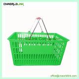 Poignée en acier de supermarchés de roulement en plastique panier 33L pour le shopping