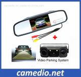 31 Sensor de Estacionamento de vídeo de radar com câmera para visão traseira + 4,3 polegadas LCD Espelho Retrovisor