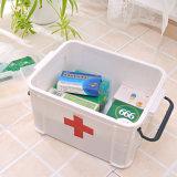 Caixa plástica da medicina do gabinete do agregado familiar branco material dos PP