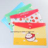 Todas as cores impressas à prova de PVC transparente os documentos A4 Saco de embalagem com o botão (jp-plástica111)