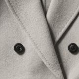 Señoras la moda abrigo de lana con la correa larga media