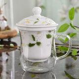 Chávena de chá de vidro borossilicato com cerâmica Infuser chávena de chá de vidro dons