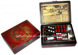 Chinois antique Oriental Art cadeau Domino Chess case en cuir