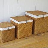 (BC-ST1081) Cestino naturale manuale puro pratico della paglia con il coperchio