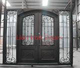 Porte en verre de première de Sidelight de fer entrée extérieure carrée moderne de gril pour la Chambre