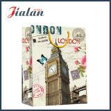 Bolsa de papel retra laminada brillante del regalo de las compras de la configuración del papel de marfil