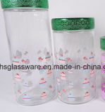 ステッカーのガラス瓶セット、ガラス小さなかんセットとの4PCS別のサイズ