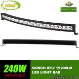 240W 50 pouces LED simple rangée incurvée avec barre d'éclairage LED CREE