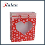 Personalizar o saco de papel do presente da compra do dia do Valentim Heart-Shaped do indicador do PVC