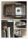 Bacia de lavatório de aço inoxidável 50/50 de baixa altura para cozinha com certificado Cupc (8247B)