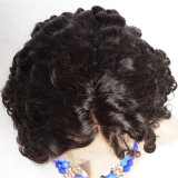 130%の密度のバージンの黒人女性のためのブラジルの毛のレースの前部かつら/短いGluelessの完全なレースの人間の毛髪の深い波の巻き毛のかつら