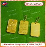 Dogtag Pendant Die Casting Words on Gold Plating Tags para cães
