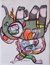 추상적인 Mighty Mice Raised The Huge Elephant Which는 The Canvas에 있는 Big Body Than Him Oil Painting이다