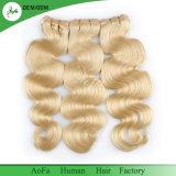 Pacotes louros do cabelo humano da onda do corpo com cabelo do europeu da classe do fechamento 9A