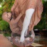 Bella signora Play con un cane sveglio della scultura di marmo per la decorazione del giardino