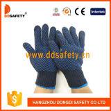 Ddsafety 2017 Segurança pontilhada de PVC azul luvas de algodão