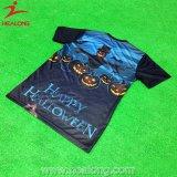 T-shirt por atacado barato feito sob encomenda da impressão da tela da planície do algodão de Healong