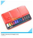 Bolo de cores de água de 24 cores na caixa de ferro para pintura e desenho