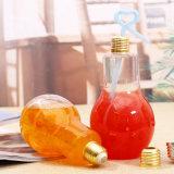 전구 모양 크리스마스 선물 금속 덮개를 가진 유리제 물병 /Glass 음료 병