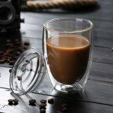 10oz de la copa de cristal esmerilado Personalizar taza de agua de Pyrex de vidrio de doble pared taza de café