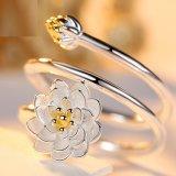 De bloem belt de Open Ring van Lotus van de Manier van de Juwelen van de Vrouw van het Ontwerp Eenvoudige