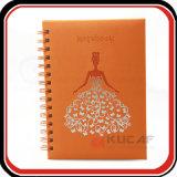 Bloc de notas de cuero espiral de boda personalizado planificador diario de las niñas