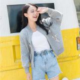 衣服の工場販売円形の首の流行に女の子のセーターのカーディガンの女性の着ること