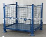 Envases amontonables plegables del rectángulo de paleta del acoplamiento del metal para las jaulas del acero del almacén