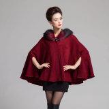 Lady Fashion col de fourrure acrylique à capuchon châle tricoté Poncho (YKY4463)