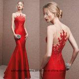 Nova Moda Acetinado Vermelho Apliques com Mermaid Prom vestidos