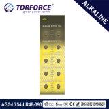 1.5V 0.00% 수성 시계 (AG5/LR754)를 위한 자유로운 알칼리성 단추 세포 건전지