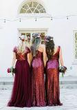 Платье PC2015 выпускного вечера Tulle официально мантий Bridesmaid Sequins вина шифоновое